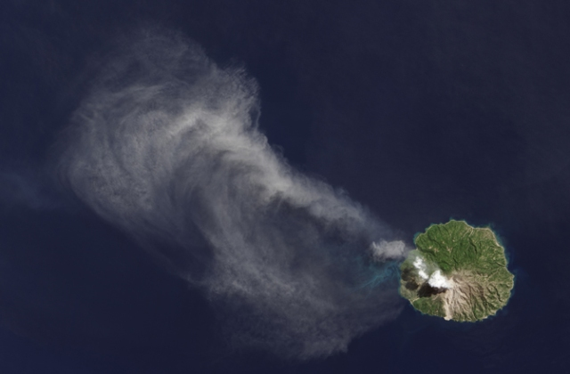 Landsat Data Continuity Mission satellite orbited over Indonesia's Flores Sea and snapped shots of Paluweh, a volcanic island.